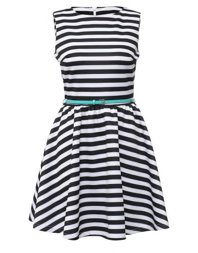 sleeveless dress with horizontal stripes