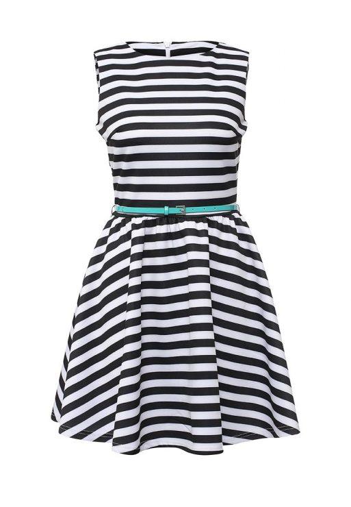 sleeveless dress with horizontal stripes