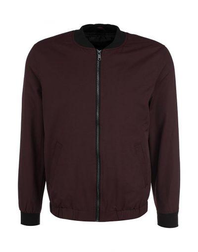Bomber Jacket With Floral Print Sleeves - Black