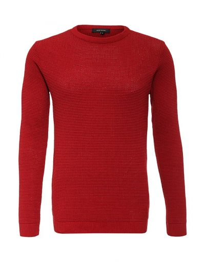 Red Muscle Ribbed Jumper In Camel for Men